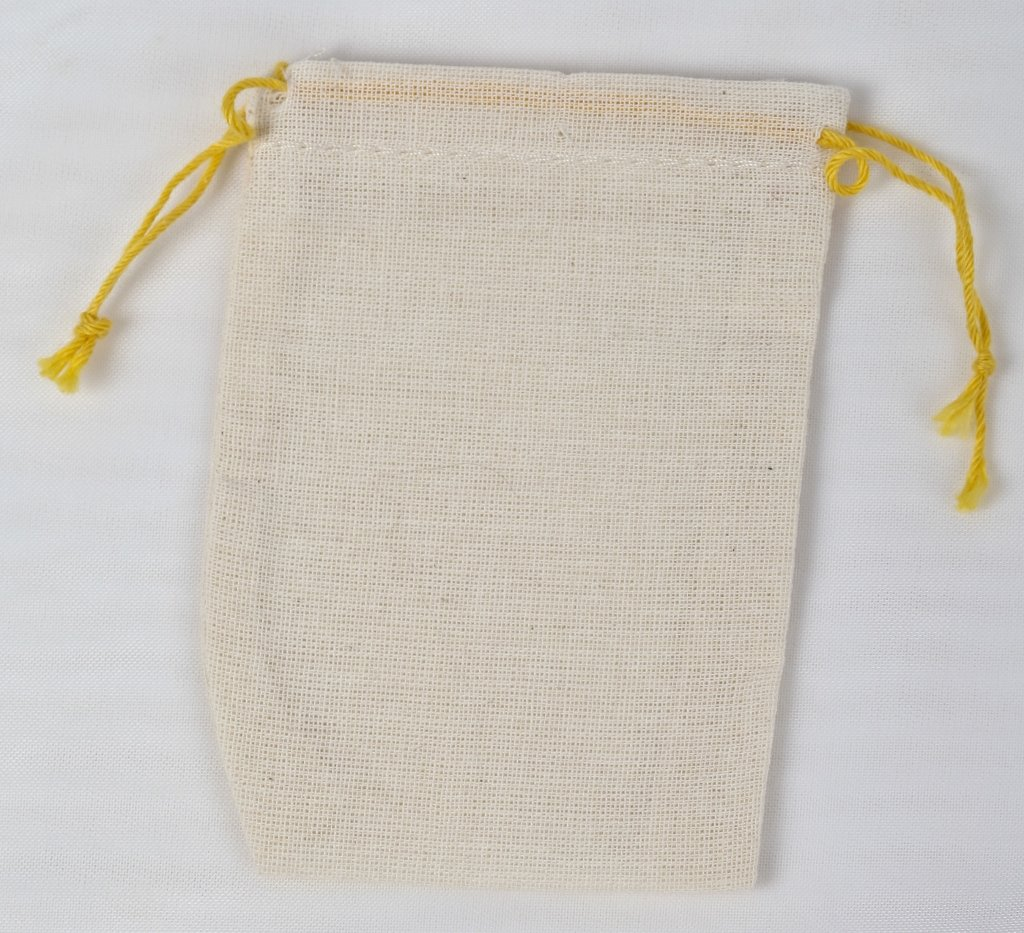 Made in the USA mini cotton double drawstring bags (Yellow drawstring)