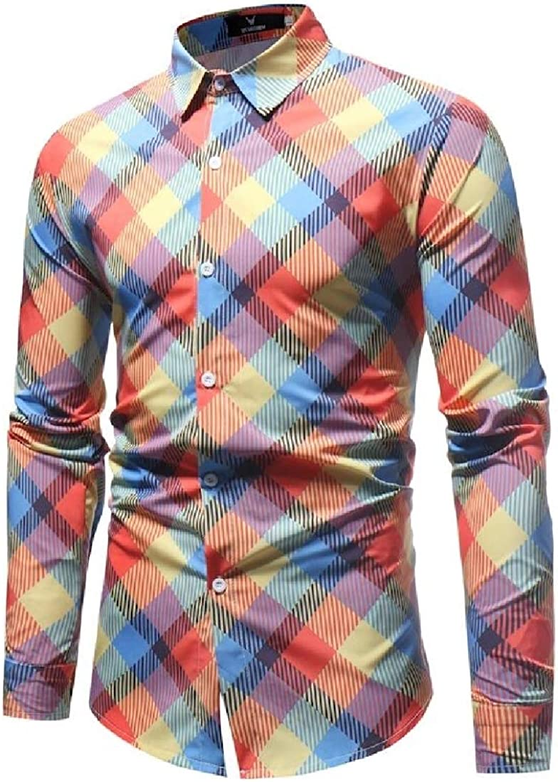 Men Long Sleeve Casual Plaid Checked Button Down Shirts
