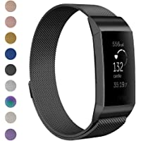 Anjoo Metal Bands Compatible for Fit bit Charge 3 & Charge 3 SE Fitness Activity Tracker Small Large for Women Men, Stainless Steel Loop Metal Replacement Wristband Bracelet Strap, Multi-Color