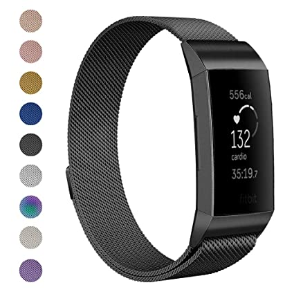 4c98d3f6c96d Anjoo Metal Bands Compatible Fitbit Charge 3   Charge 3 SE Fitness Activity  Tracker