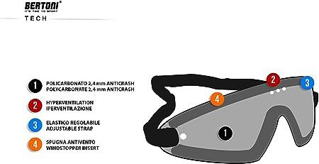 BERTONI Gafas Deportivas AntiVaho Envolventes a Prueba de Viento con Clip /Óptico Incluido para Lentes Graduadas AF79D Lente Gris