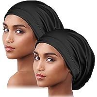 Alnorm Silk Satin Bonnet Sleep Cap Adjustable-Satin Edge, Double Layer, 2 Pack