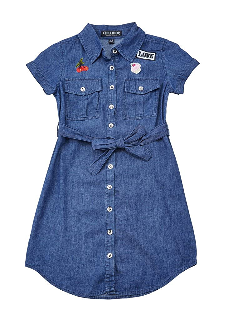 Chilipop DRESS ガールズ 5/6 Little Girls Dk Blue Enzyme B06VV2W8VF