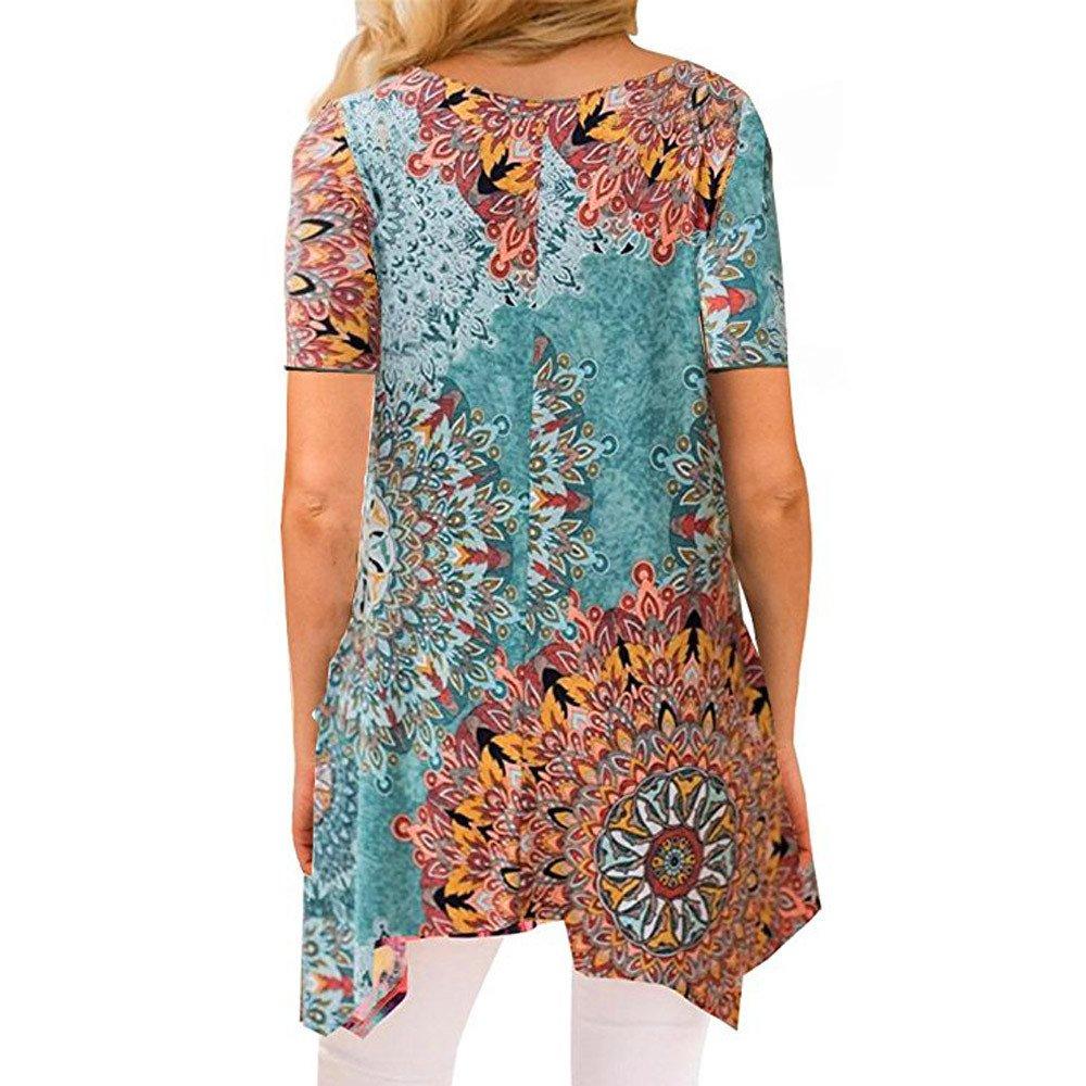 FONMA Women Summer T-Shirt Irregular Printing Short Sleeve Blouse Loose Tunic Top