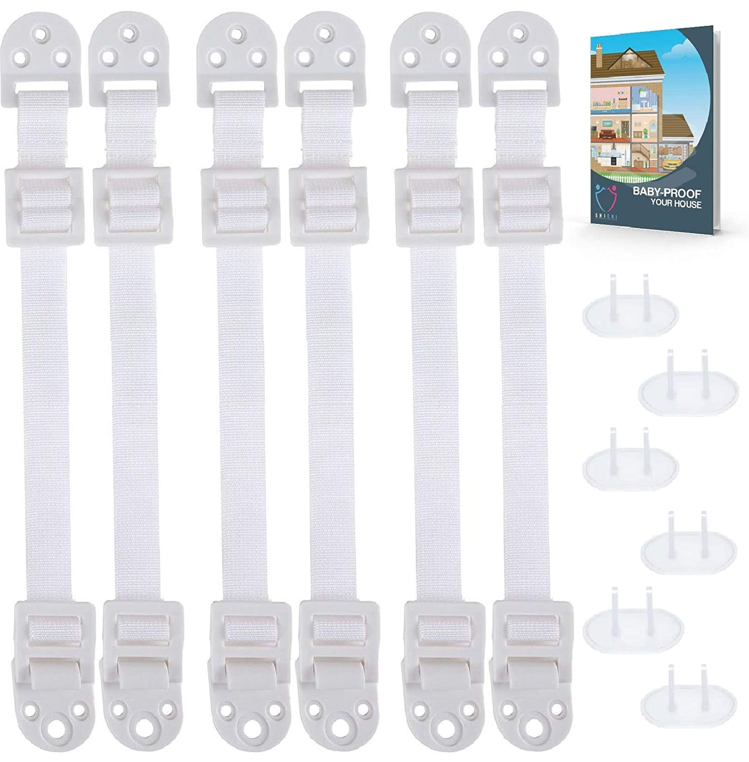 Furniture Anchors for Baby Proofing (6 PACK+6 OUTLET COVERS+EBOOK) TV Straps Safety Anti-Tip Kit, Furniture Mount Baby Proof, Earthquake Straps for Bookshelf, Dresser Secure to Wall,Child Anchor Strap