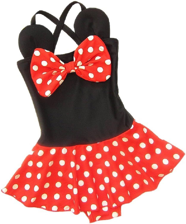 Baby Kid Girl Swimsuits Bathing Polka Dots Bowknot Toddler One Piece Swimwear Tankini Dress M//3-4T Red