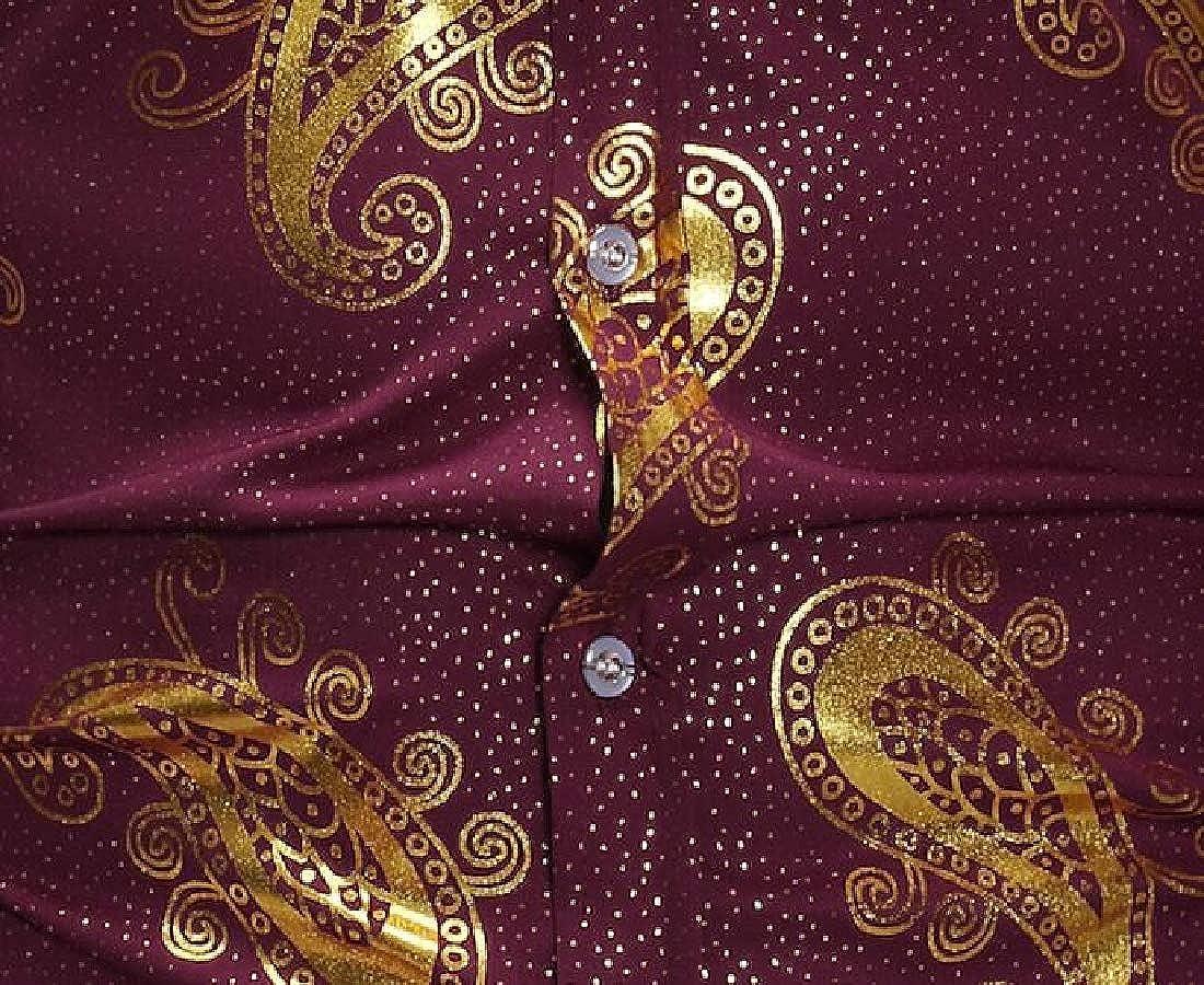UUYUK Men Print Casual Business Long Sleeve Slim Button Down Dress Work Shirt