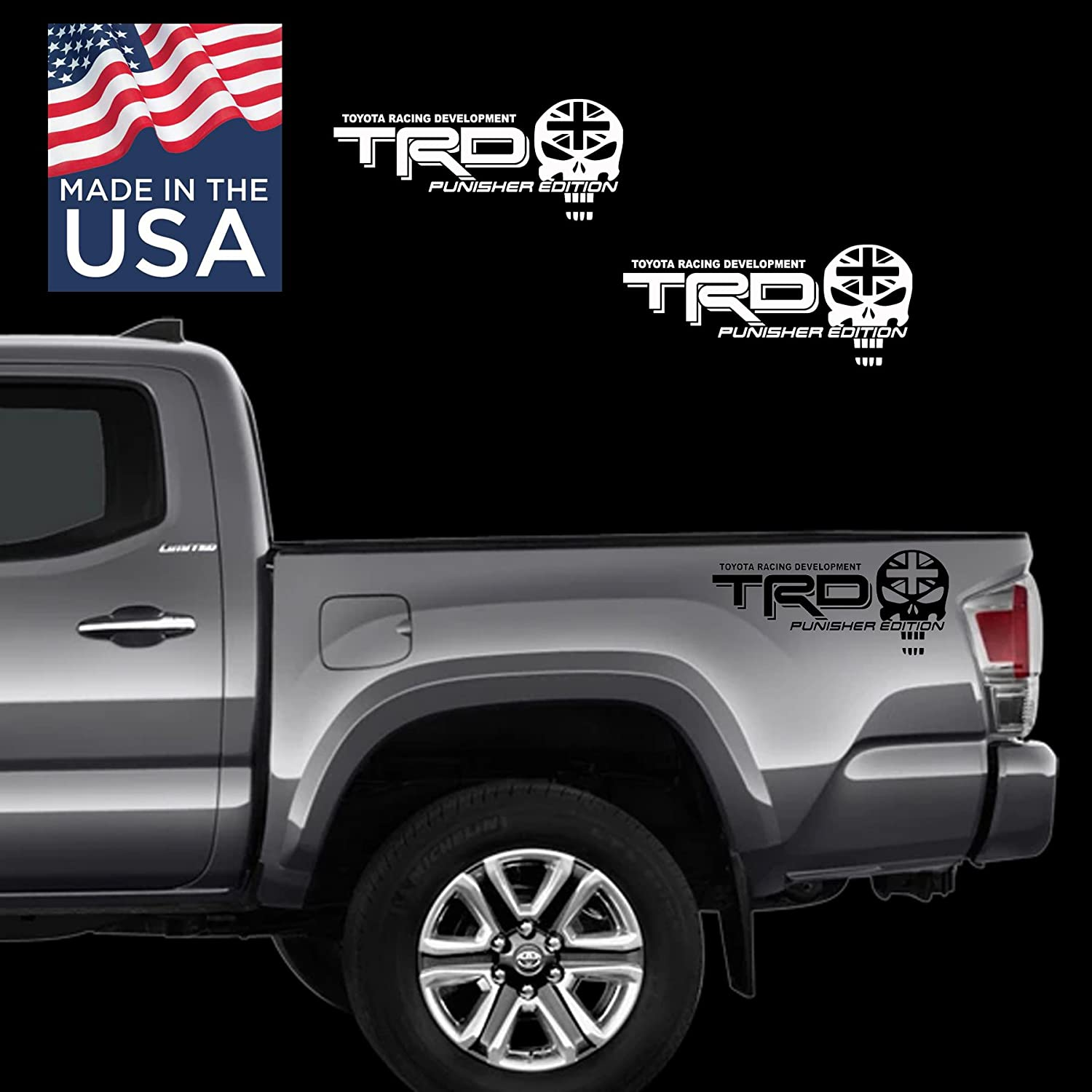 Toyota TRD Car Truck SUV Off-Road 4x4 Racing PUNISHER EDITION UK Flag Decal Vinyl Stickers