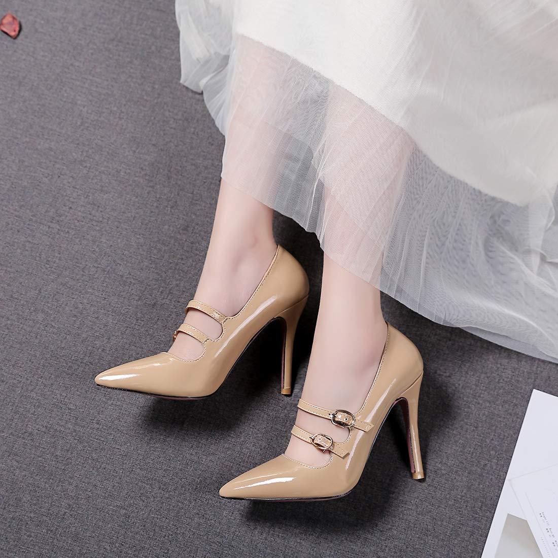 Womens Girls Mary Jane Pointy-Toe Stiletto High Heels Dress Pumps