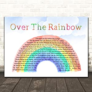 Somewhere Over The Rainbow Watercolour Rainbow & Clouds Song Lyric Music Print