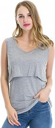 Smallshow Women's Sleeveless Maternity Nursing Tank Tops Breastfeeding Clothes