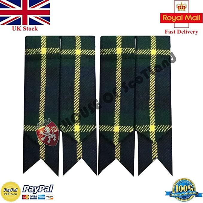 Falda Escocesa Hose Calcetines Bandas Ligueros Varios Tartanes / Kilt Highland Bandas (Tipo Montañés Gordon