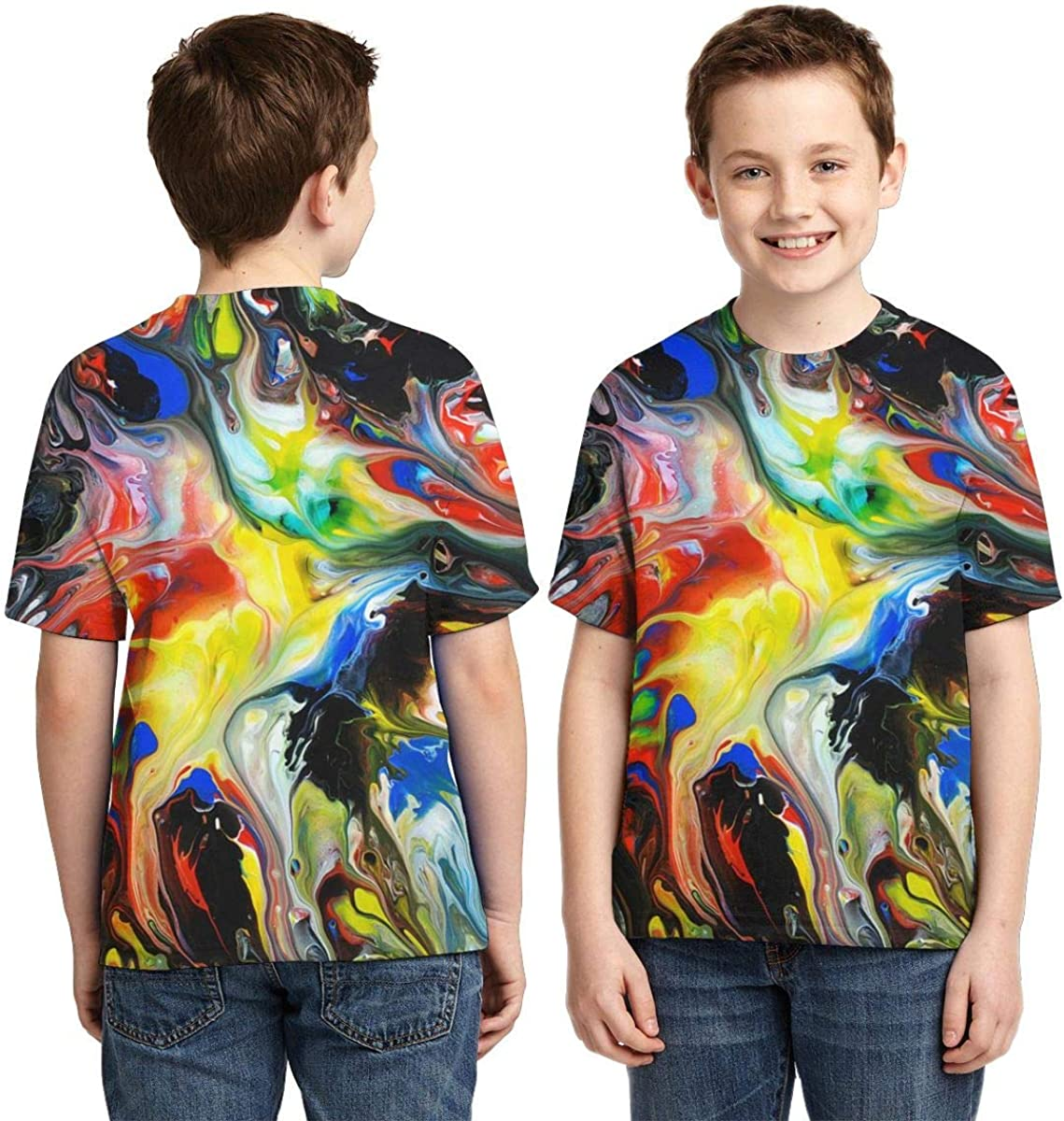 AMODECO Abstract Art Fluid Painting 3D Printed Tee T-Shirt for Youth Teenager Boys Girls