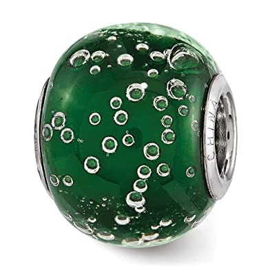 Fine Jewelry Fine Charms & Charm Bracelets Sterling Silver Reflections Bubbles Green Glass Bead