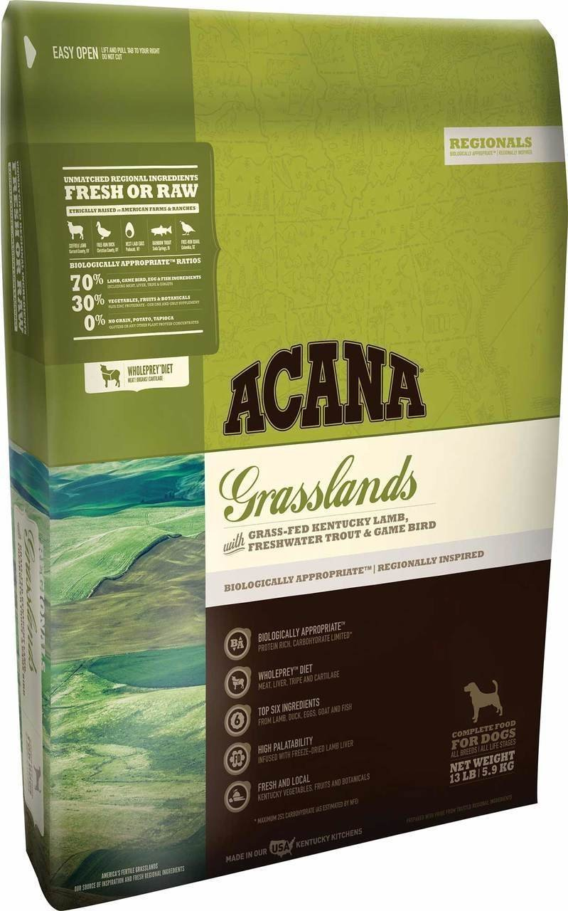 ACANA Grasslands Dry Dog Food 13 lb. Bag. Made Grass-Fed Kentucky Lamb, Freshwater Trout & Game Bird. Fast Delivery Just Jak's Pet Market by ACANA