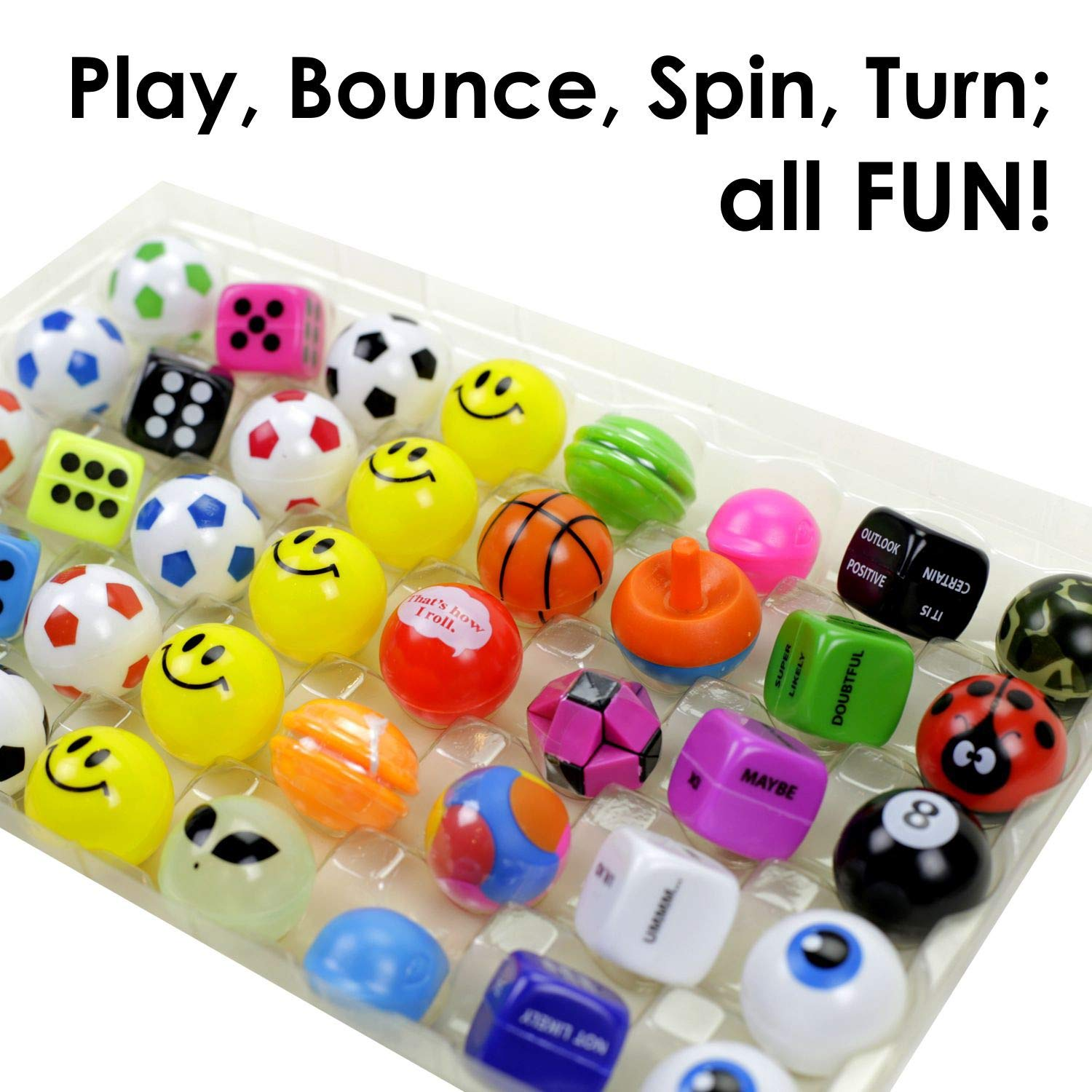 Soccer Balls Size- 32mm Whistles Gifts 50 pcs Combination of Dice Fortune Dice /& Etc Prizes /& Rewards Entervending Mystery Mix Great for Vending Puzzles
