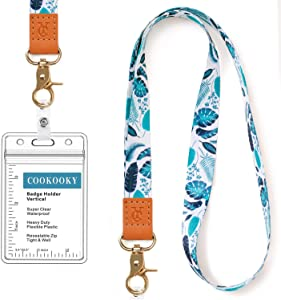 Lanyard with id Holder Cute Lanyards for Women Lanyard for Keys ID Badge Holder (Turtle Leaf)