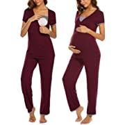 Ekouaer Maternity Sleepwear Set Nursing Pjs Soft V Neck Pajamas Pants Set (Wine Red M)