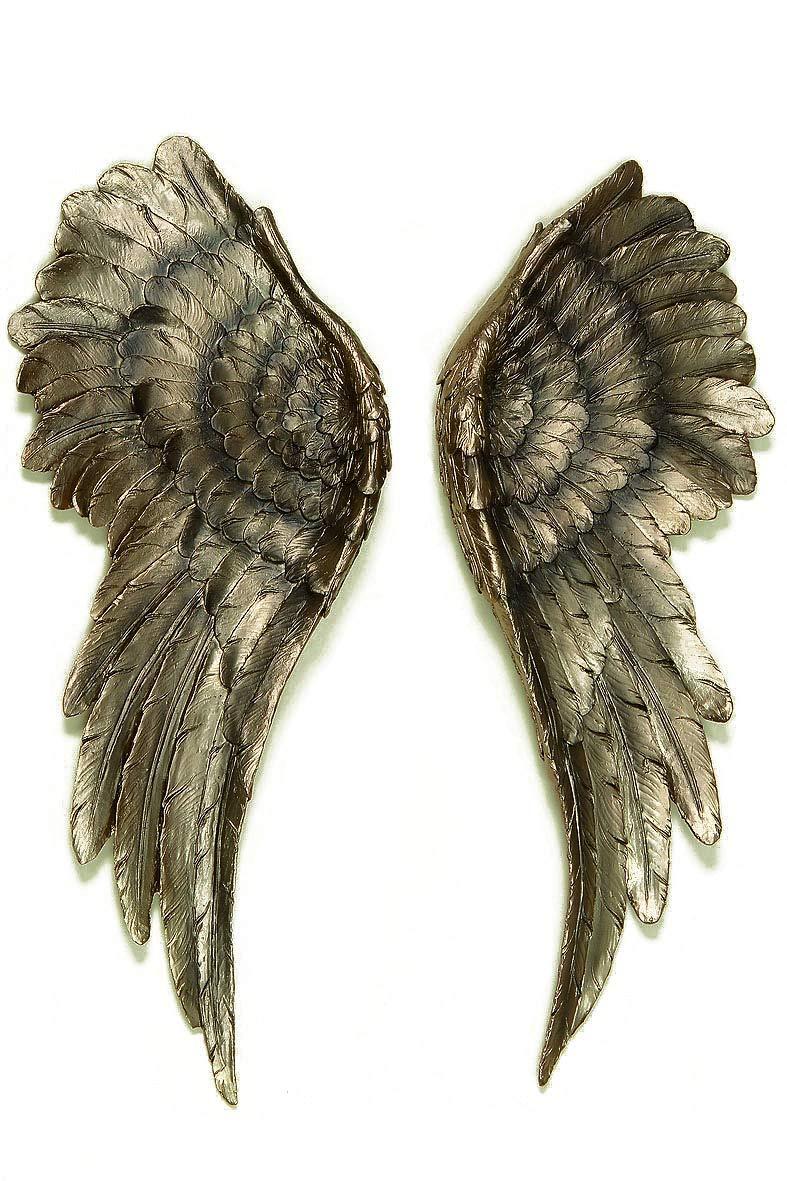 Decorazione da parete da 2 pezzi, con ali d'angelo, 54 x 22 cm, colore oro anticato con ali d' angelo Boltze
