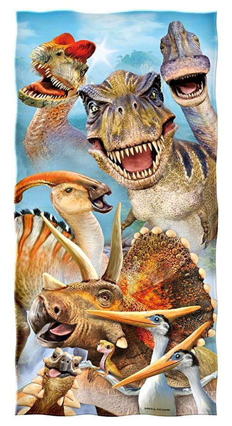 Dinosaurios Selfie - Toalla de playa (algodón, 78,74 x 132,88