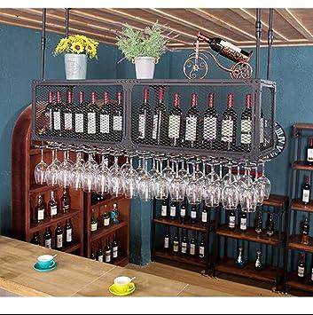 Sostenedor de botella WYB Estante para Vinos Estante para Copas De Vino Portavasos para Vinos Que Cuelga Boca Abajo Barra Alta Europea Portavasos Bandeja de ...