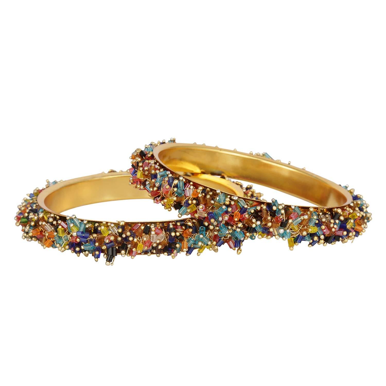 Efulgenz Fashion Jewelry Indian Bollywood 14 K Gold Plated Cystal Beaded Multicolor Bracelets Bangle Set (2 Pieces) for Women by Efulgenz (Image #1)