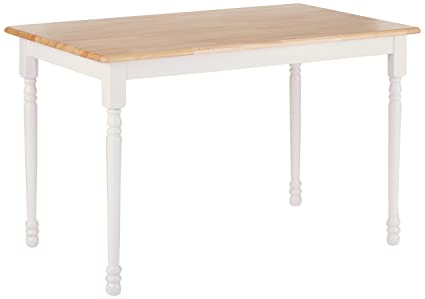 Coaster Home Furnishings Country Farmhouse Rectangular Butcher Block Dining  Table   Natural / White