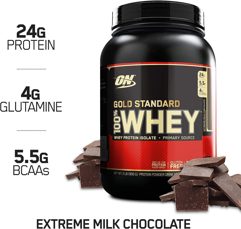 OPTIMUM NUTRITION Gold Standard 100 Whey Protein Powder, Extreme Milk Chocolate, 2 Pound