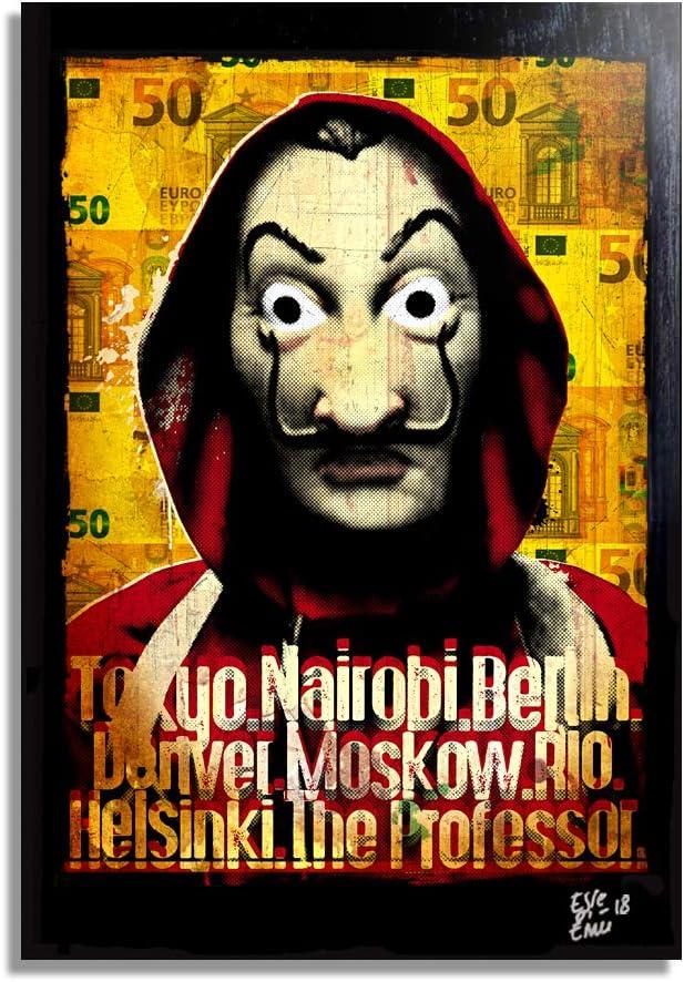 Máscara de Dalí de la serie de televisión La Casa de Papel - Pintura Enmarcado Original, Imagen Pop-Art, Impresión Póster, Impresion en Lienzo, Cuadro, Cómics, Cartel de la Película
