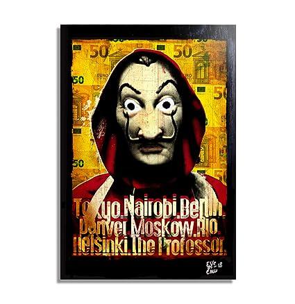 Máscara de Dalí de la serie de televisión La Casa de Papel - Pintura Enmarcado Original