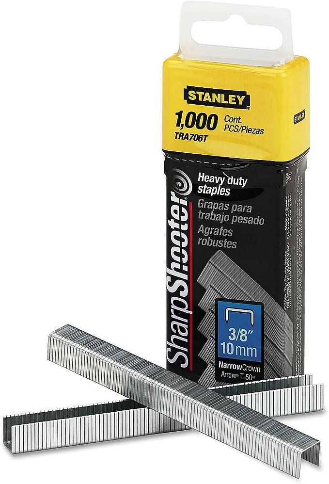 3//8 Inch Leg Length 1000//Box Stanley Sharpshooter Staples TRA706T
