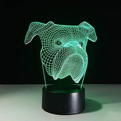 Luz de noche 3D Lámpara de mesa LED Lámpara de ilusión Perro ...