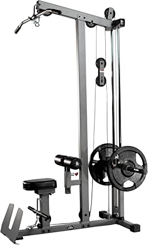 XMark Heavy Duty LAT Pulldown and Low Row Cable Machine with High and Low Pulley Stations and Flip-Up Footplate, Optional Upgraded Accessory Package Available