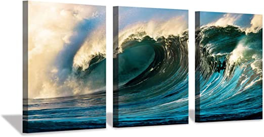 Amazon Com Ocean Wave Canvas Wall Art Seascape Sunset Artwork Painting Print On Canvas For Bedroom 16 X 12 X 3 Panels Posters Prints