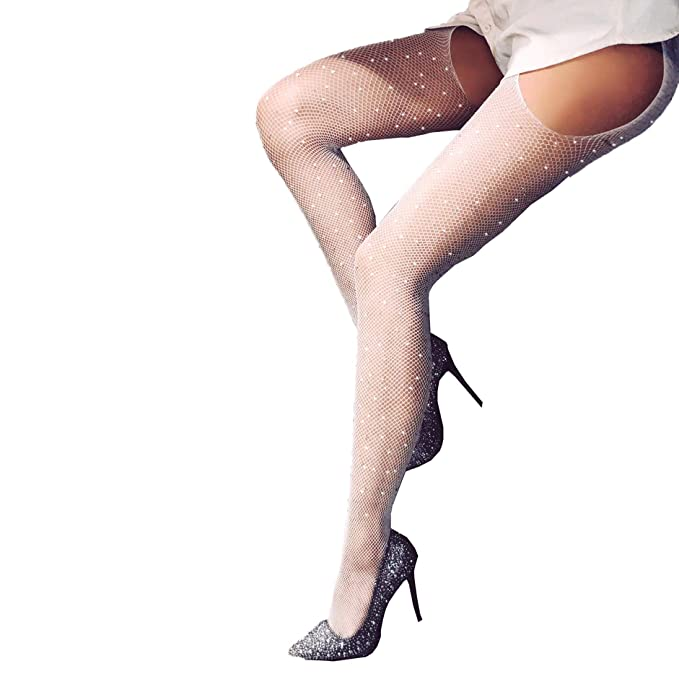45d05cd8640 Women s Fishnet Stockings Sparkle Glitter Rhinestone Pantyhose Tights One  Size (One Size