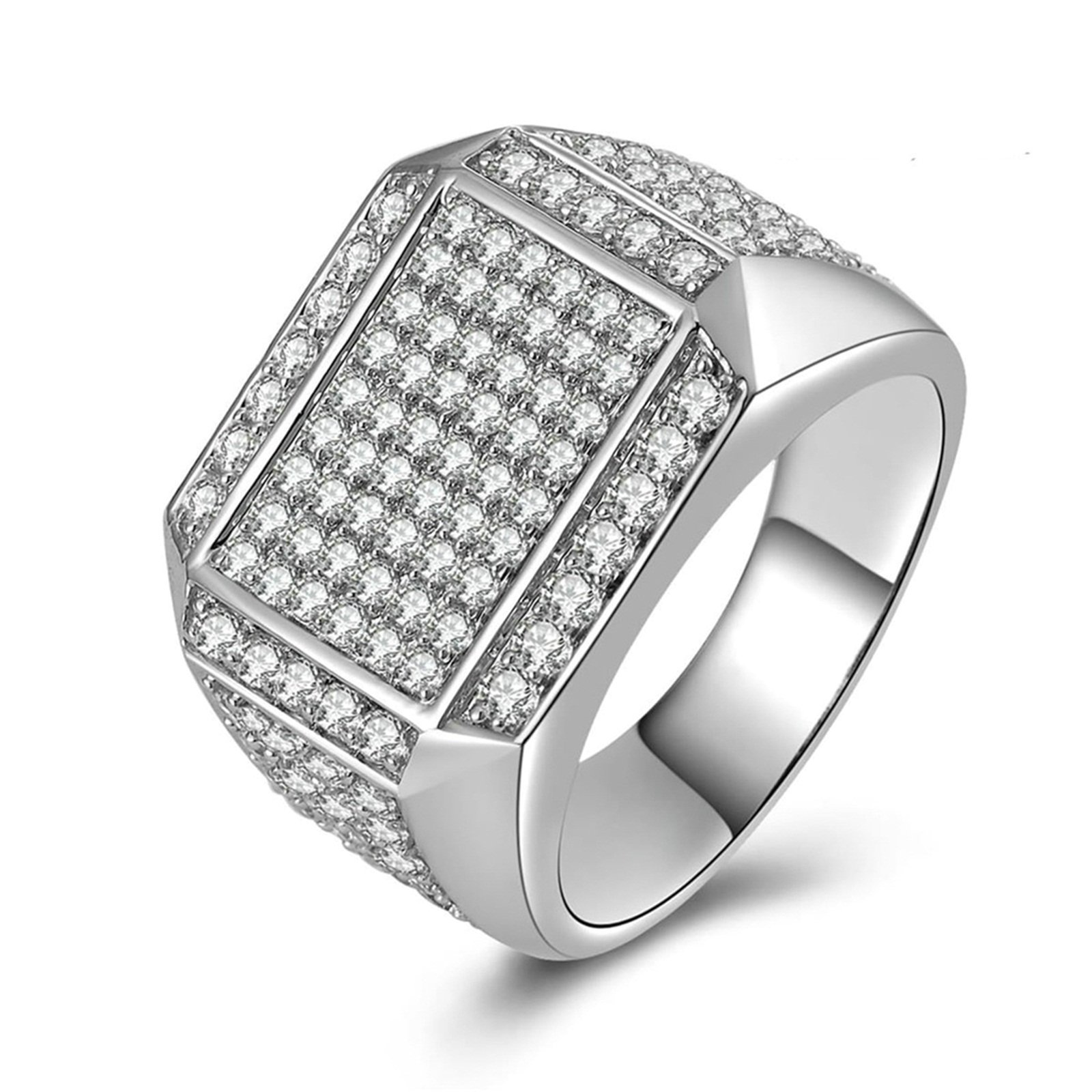 Beydodo Wedding Band Diamond Iced Out Ring Round White Cubic Zirconia Size 12 Anniversary Gift