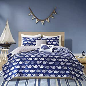 D&H 4 Piece Kids Dark Blue White Grey Whales Theme Coverlet Twin XL Set, Fun All Over Underwater Animal Bedding, Cute Stylish Geometric Ocean Sea Life Multi Patterns Whale Themed Pattern, Navy Gray