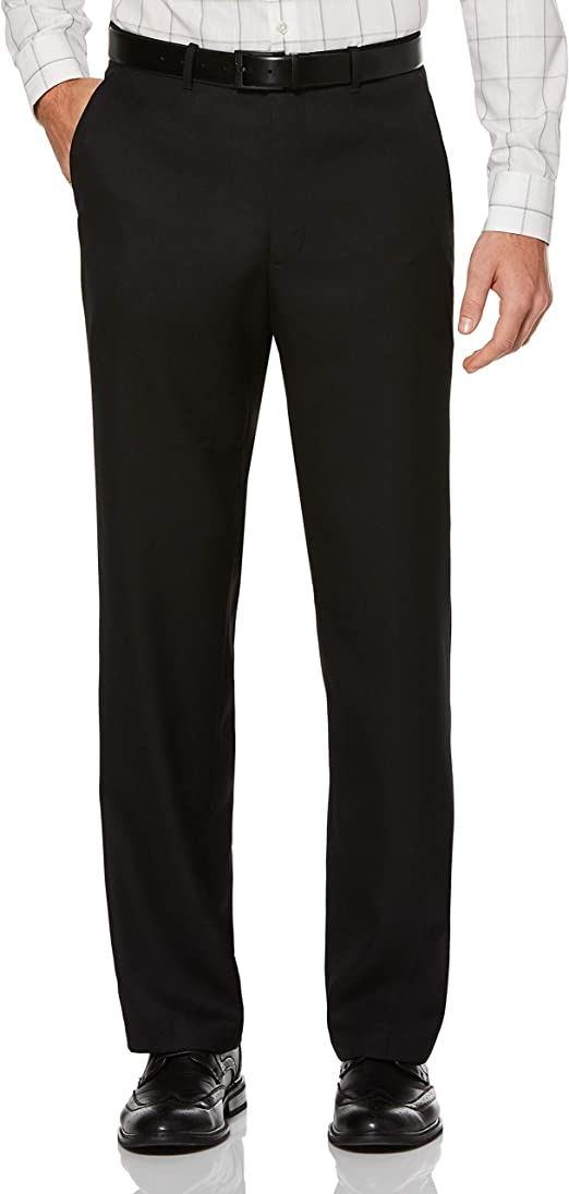 Perry Ellis Classic Fit Solid Twill Gray Flat Front Washable Dress Pants