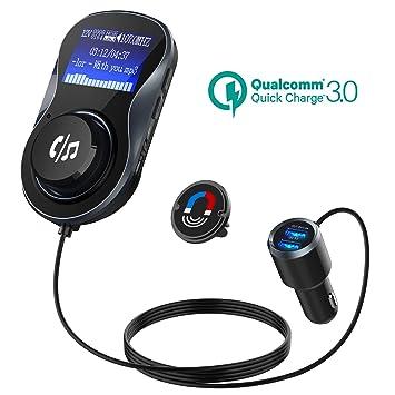 Transmisor FM Bluetooth, Quick Charge 3.0+5V/1A Duales USB Cargador Coche Radio Transmisor, 1.4 inch MP3 Radio Adaptador Inalambrico con Manos Libre ...