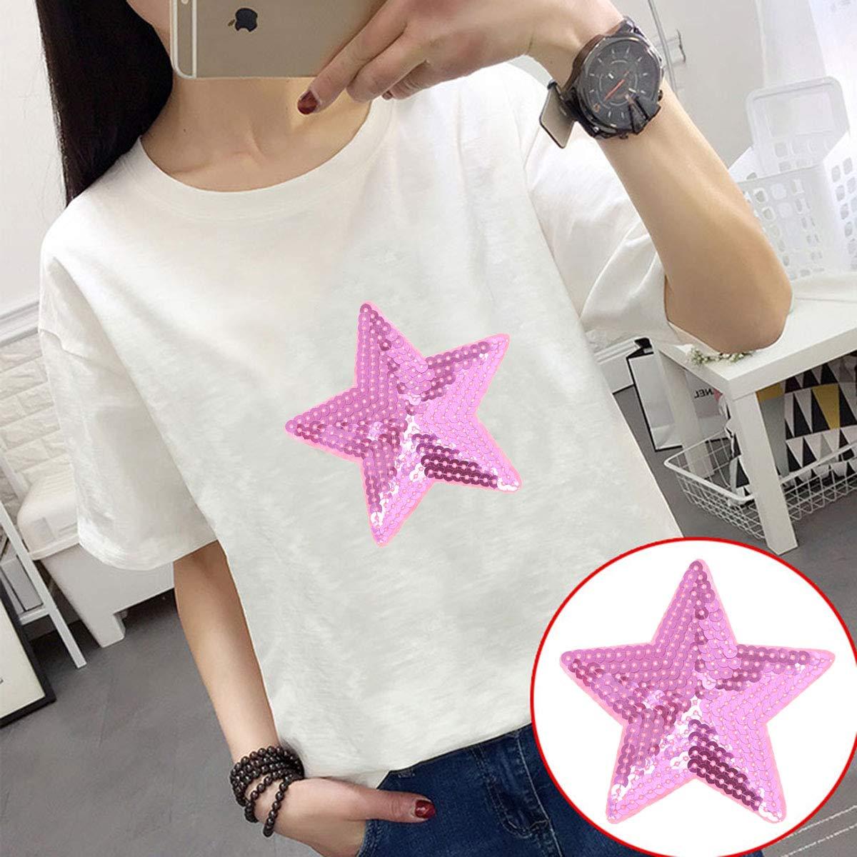 ropa bricolaje 10 piezas Supvox Pegatinas de tela bordada con lentejuelas Parches de estrellas de cinco puntas