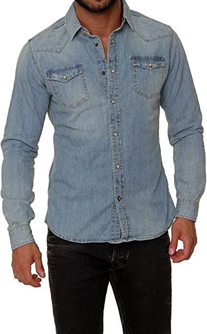 Scotch & Soda Amsterdams Blauw Camisa vaquera MR BLUE SLIM FIT para hombre, Color: Celeste, Talla: S: Amazon.es: Ropa y accesorios