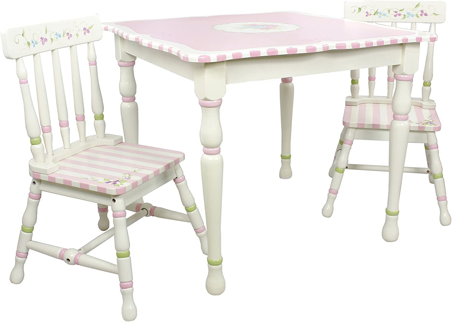 B0056GKDCS Fantasy Fields - Bouquet Thematic Hand Crafted Kids Wooden Table and 2 Chairs Set  Imagination Inspiring Hand Crafted & Hand Painted Details Non-Toxic, Lead Free Water-based Paint 712RHHkYwYL