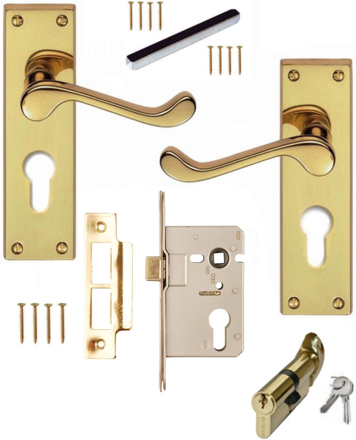 Scroll Polished Chrome Handle Cylinder /& Turn Lock Set For 44mm Fire Door Hinges
