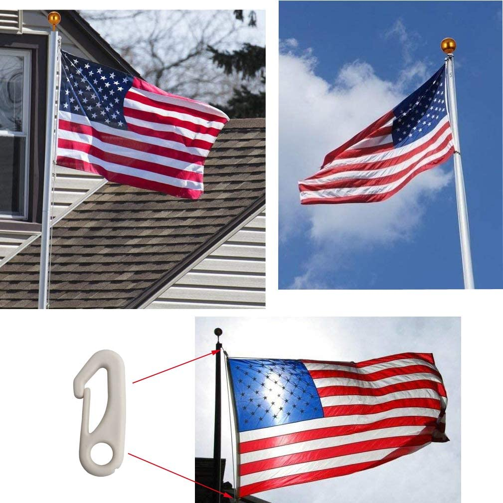 Amgate 4 PCS Steel Flag Pole Clip Hook Free Ship New