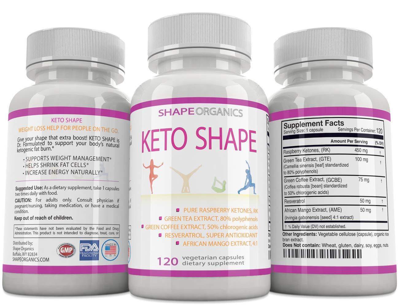 Keto Shape Fat Burn Formula: Max KETOSIS Energy Booster Complex Diet Pill That Works Fast for Women and Men, Green Tea, Coffee Bean Extract, Raspberry Ketone, African Mango, Resveratrol 120 Veg Cap by Shape Organics