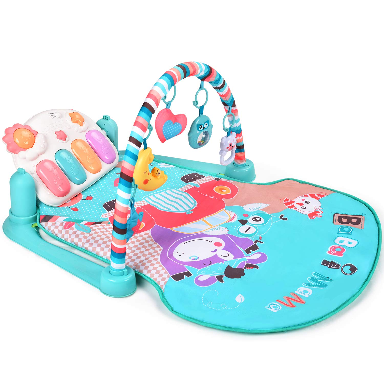 fe1583cbf1c7 Amazon.com   Large Baby Play Mat BATTOP Kick and Play Piano Gym - 5 Toys  and Musical Activity Baby Gym for 0-36 Month Boys and Girls (Macaron)   Baby