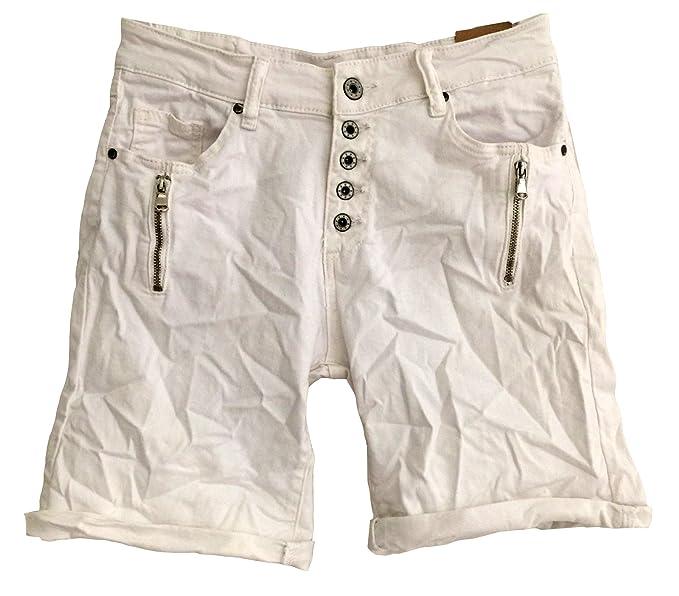 Itaimaska Damen Shorts Reißverschluss Jeansshorts Bermuda 34 36 38 40 42  Grau Grün Schwarz Weiß ( 6f90e7f545