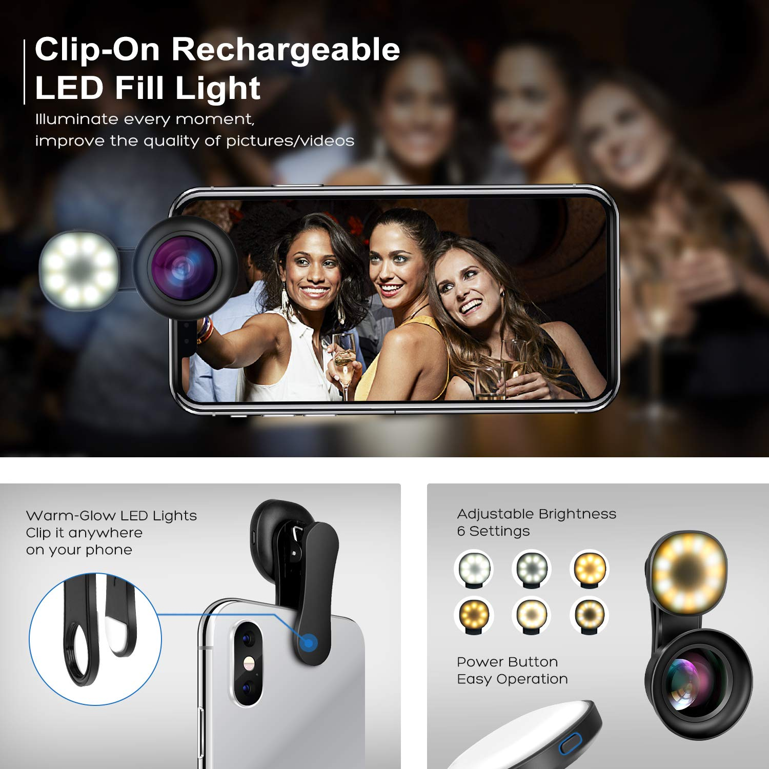 Cell Phone Camera Lens Kit – VIEWOW 4K HD 7 Optical Glasses 15X Macro 0.45X Wide Angle Phone Lens Kit with LED Light and Travel Case, Compatible with iPhone X/XS/8/7 Plus Samsung Pixel by VIEWOW (Image #3)