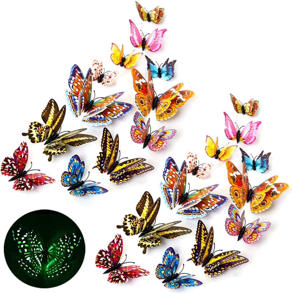 3D Butterfly Wall Stickers Decor 24 Pcs Luminous Colorful Butterfly Wall Decals for Kids Girls Baby Women Bedroom Living Room Wall Art Decor Removable Mural Sticker Butterflies Wall Art Decorations