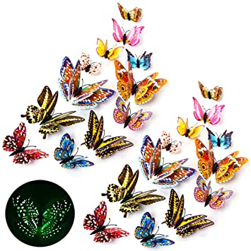 12 Pcs Luminous Wall Sticker 3D Butterfly Glow In The Dark Art Decal Home Decor